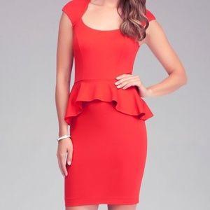 Bebe Red Mariah Cut-Out Peplum Dress XS
